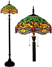 Tiffany stijl rode libel design vloerlamp, 16 inch 2 lichten vloerlamp lamp, handgeverfde glazen interieur staande verlich...