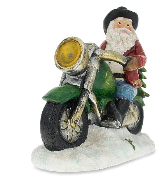 BestPysanky Western Cowboy Santa On A Motorcycle LED Light Figurine 8 5 Inches