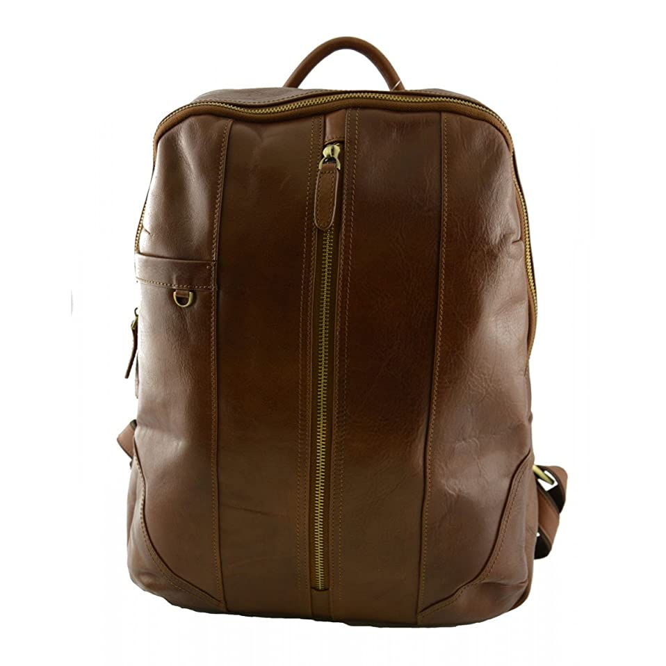 ラッカス後者民族主義Made In Italy Genuine Leather Backpack Color Brown - Backpack
