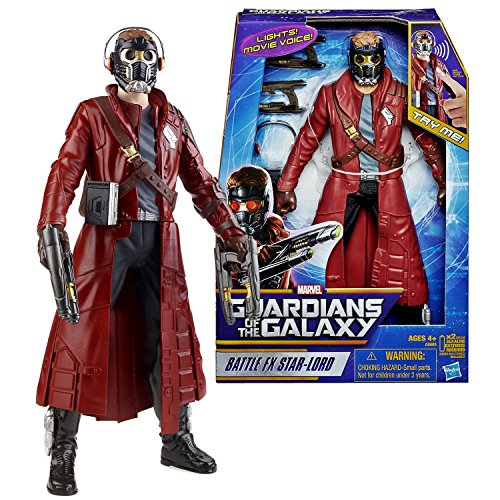 Guardians of the Galaxy Marvel Year 2013 Movie Series 12 Inch Tall Electronic Figure - Battle FX Star-Lord with Light Up Eyes and Sounds Plus 2 Quad Blasters and Walkman with Headphones