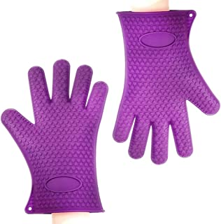 Binwo BBQ Grill Gloves, Best Versatile Heat Resistant Oven Gloves, Cooking Kitchen Pot Holders and Oven Mitts, Insulated Silicone Oven Mitts for Barbecue, Cooking, Baking, Best Gift for Mom Grandma