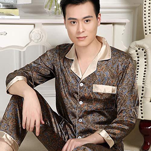 AliTown Los hombres pijamas de manga larga camisa pantalones delgada piel de seda recogida traje