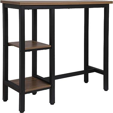 WOLTU 1 X Table de Bar Table de bistrot Table Haute Structure en métal Plateau en MDF,130x40x100cm Hêtre Foncé BT31dc