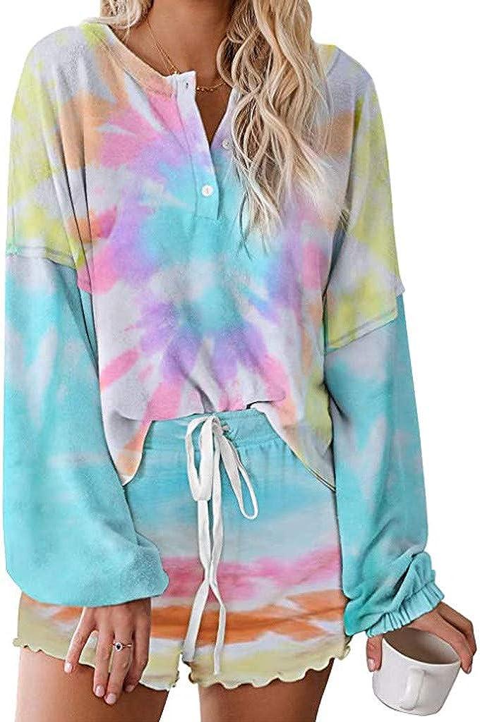Womens Pajama Sets,Womens Tie Dye Printed Lounge Set Long Sleeve Tops and Shorts 2 Piece Pajamas Set Sleepwear
