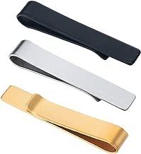 SHUYUE 3 Pc Set 1.9 Inch Skinny Tie Bar Clip - Silver,Black,Gold