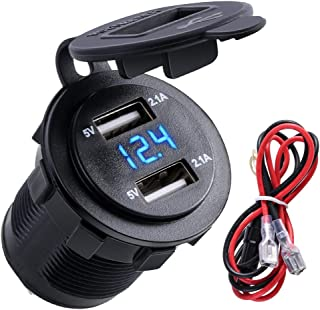 Blue Quick Charge 3.0 Car Charger with 10A Fuse, Bbzeal 12V/24V Aluminum Waterproof Dual QC3.0 USB Fast Charger Socket Power Outlet with LED Digital Voltmeter for 12-24V Car Boat Motorcycle