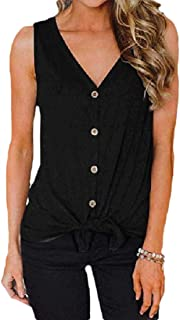 Howely Women Cardigan Sleeveless V-Neck Buttoned Pure Color Vest Cardigan