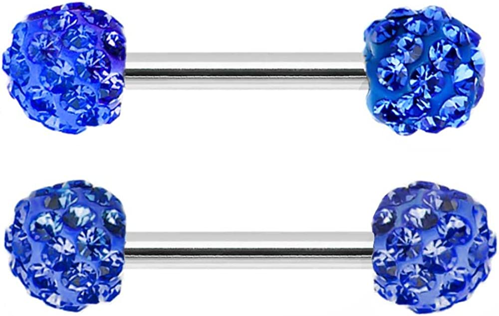 Pair of Swarovski Crystal Ferido gem paved Surgical Steel Nipple barbell Ring piercing bar rings 8g