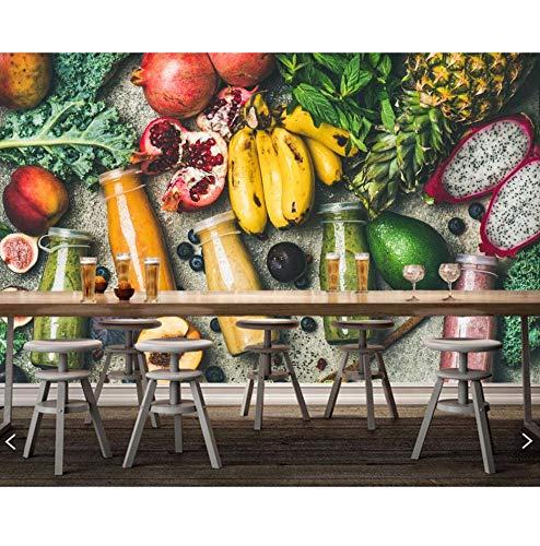 Dalxsh Saft-Frucht-Avocado-Bananen-Nahrungsmittelfototapete, Restaurantbarwohnzimmerbar Fernsehwand-Sofa-Wandküche 3D Wandgemälde-120X100Cm