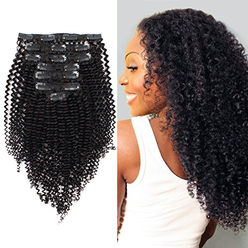 ABH AmazingBeauty Hair 8A Remy Brazilian Clip in Hair Extensions Kinkys curly 3C and 4A type for African Americans, Natural Color 120 gram 16 Inch for Bantu Knotted, Twisted Out