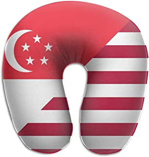 LINSHANGYI American and Singapore Flag Gift U Shape Neck Pillow Super Soft Travel Kit Cervical Pillow for Airplane, Train, Train, Office
