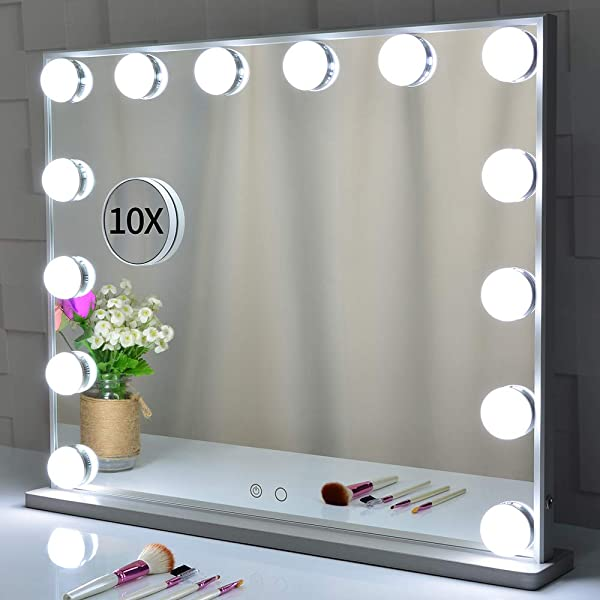 BEAUTME Hollywood Vanity Mirror With Lights Lighted Makeup Dressing Tabletop Or Wall Mounted Beauty Mirrors With Dimmer 14pcs Led Bulbs And Detachable 10X Magnification Spot Cosmetic Mirror Included