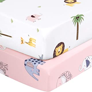 Designthology U.S. Printed 100% Cotton Muslin Fitted Crib Sheet for Standard Crib and Toddler Mattresses for Girls, Pink Elephants & White Lion