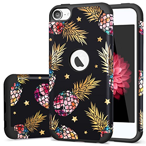 iPod 6 CaseiPod Touch 5 CaseiPod 7 CaseFingic Slim Cover for Teenagers Colorful Pineapple Gold Shinny Star Pattern Case Protective Case for Apple iPod Touch 5/6th GenerationFloral Pineapple/Black