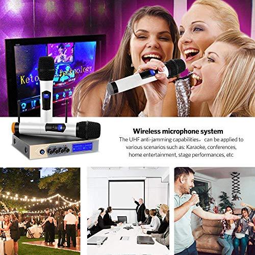 Karaoke Mikrofon ARCHEER Karaoke Anlage Maschine UHF Dual Kabelloses Wireless Microphone Funkmikrofon Microfon System mit Bluetooth Empfänger für Home Party, Besprechung, Hochzeit