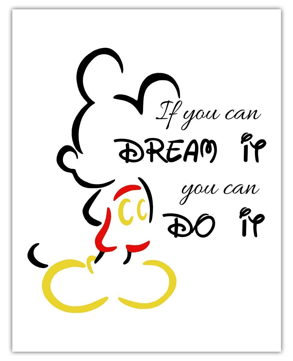 Buy If You Can Dream It You Can Do It Mickey Mouse Typography Wall ...