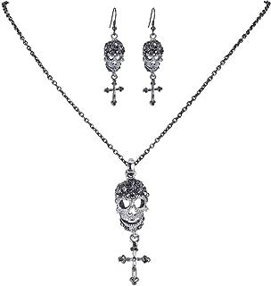 EVER FAITH Halloween Skull Cross Necklace Earrings Set Austrian Crystal