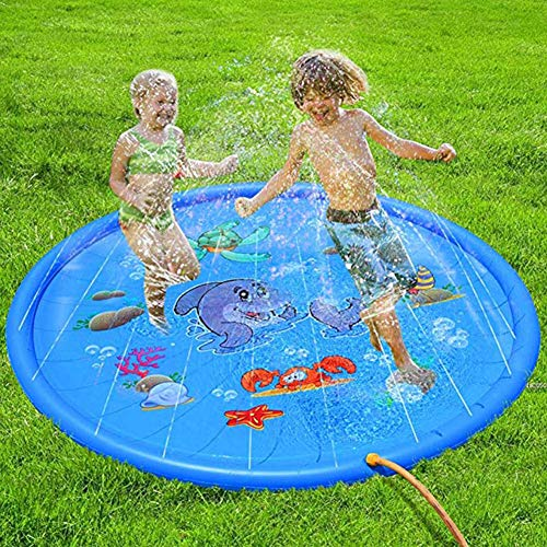 ARTIFUN 100/150/170cm Sprinkle and Splash Water Play Mat, Inflatable Sprinkler Pads, Summer Garden Outdoor Spray Toys Perfect for Kids/Dog/Cat/Pets and Outdoor Family Activities (Diameter:170cm/67)