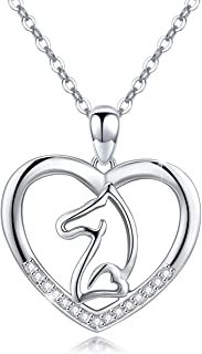 Cuoka Horse Necklace Horse Jewelry Heart Pendant 925 Sterling Silver Equestrian Necklace Equestrian Gifts for Horse Lover (Horse Necklace)