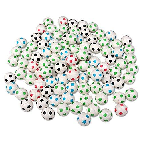 Schramm® 100 Stück Flummis Fußball Design 27mm Flummis Springball Hüpfball Mitgebsel Tombola Kindergeburtstag