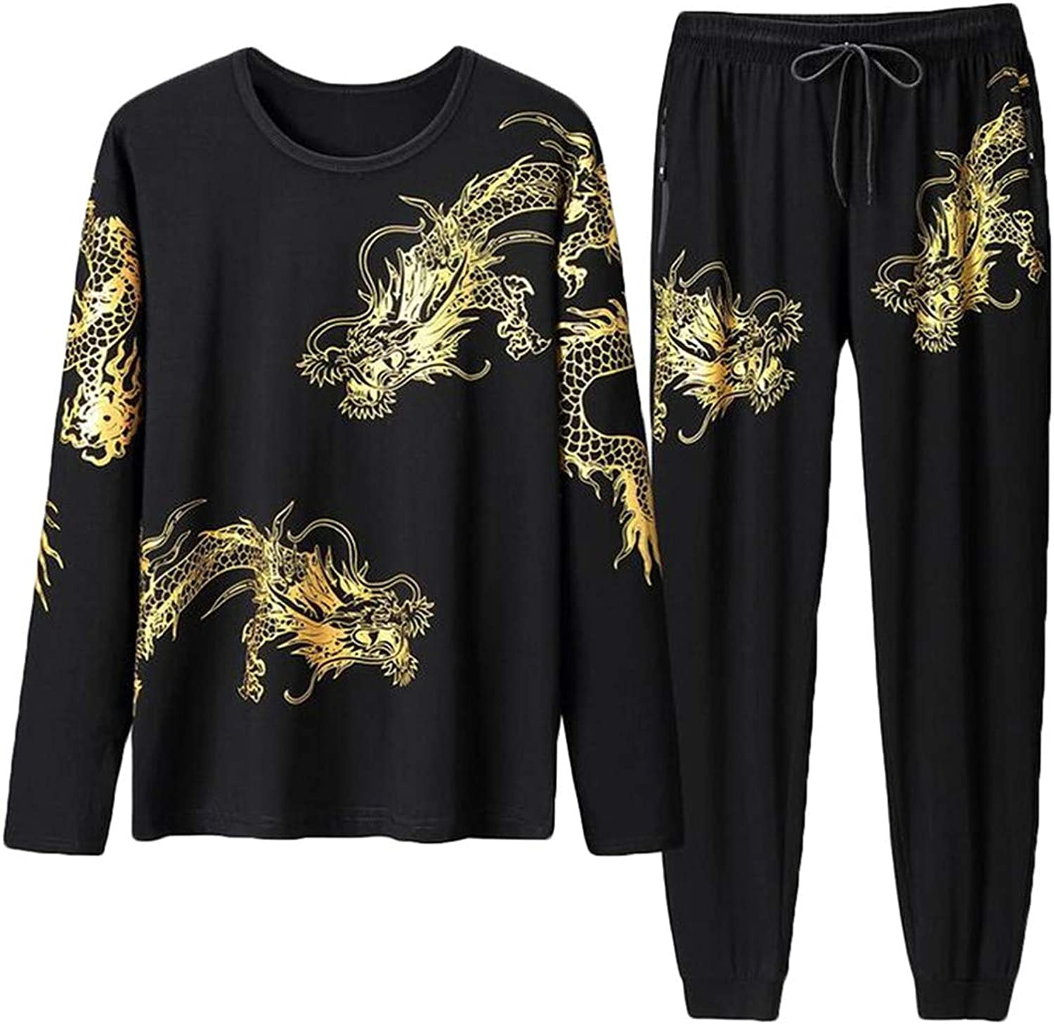 BYWX Men Big & Tall Long Sleeve Loose Fit Sweatsuit Printed Round Neck Tracksuits