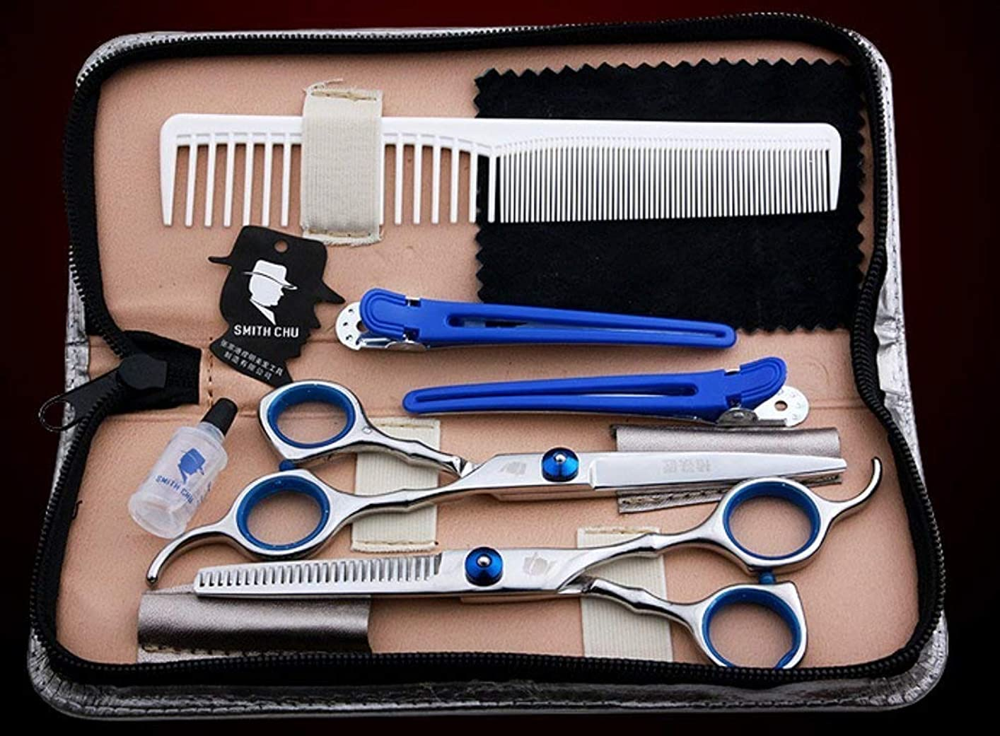 誠意寝る交通T&Y 美容師 理容師 トリマー シザー セット ヘアカット 8点セット(カットシザー、セニングシザー、シザーケース、クリーニングクロス、防錆油、ヘアクリップx2、コーム) 美容師 トリマー プロ用 TYHBA1-15002