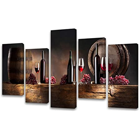 Amazon Com Baisuwallart K60926 5 Pieces Kitchen Wall Decor Red Wine Cups Hd Modern Framed Wall Art Fruit Grape Red Wine Glass Restaurant Canvas Prints Pictures Paintings For Dining Room Posters Prints