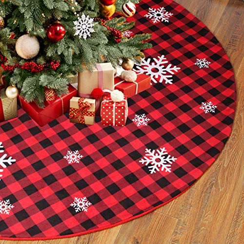 Buffalo Plaid Christmas Tree Skirt, 48 Inch Red and Black Buffalo Check Tree Skirt with White Snowflake Printed, Double Layers for Holiday Christmas Decorations by QIFU