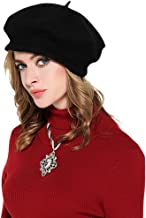 Womens 100% Wool Beret Cap Classic French Artist Basque Beret Tam Solid Color Winter Warm Beanie Hat Cap Fashion French Beret Hat Novelty Headwear Visor (Black)
