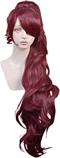 Cfalaicos Wine Red Cosplay Wig with 1 Clip on Ponytail