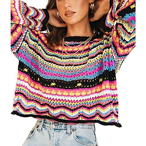 DeuYeng Jersey de punto Y2K para mujer con punto de ganchillo, bloque de color, jersey de manga larga, camisas de patchwork sueltas de los años 90, Negro, L