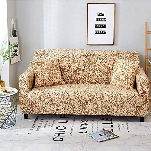 ZLLBF Fundas Sofa Elasticas Chaise Longue,Extraíbles Y Lavables,Moderno Cubre Sofa Universal Fundas Protectora para Sofa contra Polvo En Forma De L 1 Piezas(Estampado Clásico Amarillo,4Plazas)