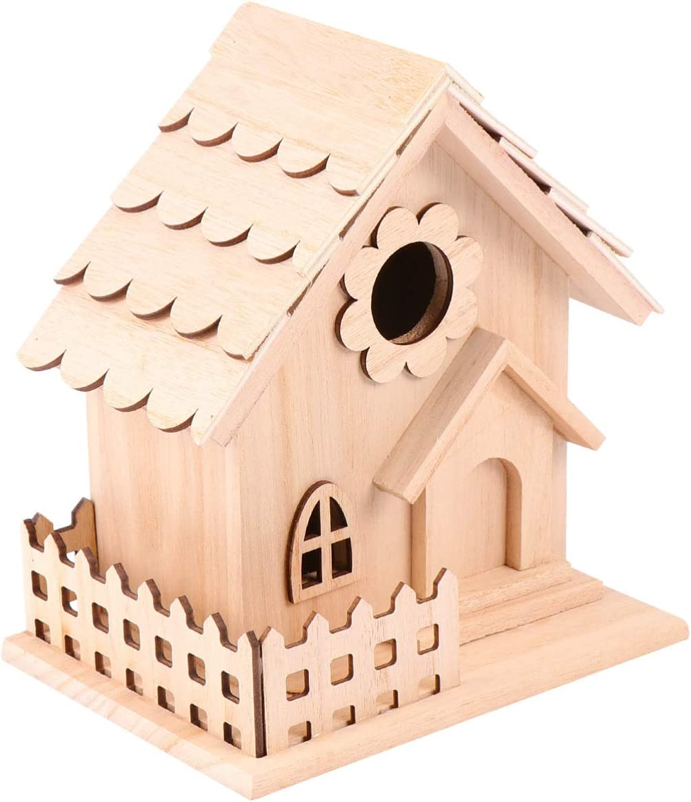 Today's only Milisten 1 Pcs Unpainted Wooden Unfinished Wo Trust Birdhouses Natural
