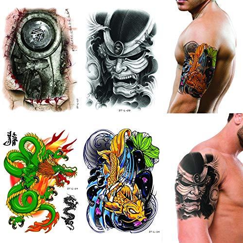Supperb 4-pack Temporary Tattoo Skull Tattoo Fish Tattoo 3d mechanical Dragon Tattoo