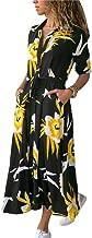 Usstore Women Blouses Dress Lapel Europe America Hot Stylish Fall Floral Print Full Sleeve Slim Work Dress with Belt