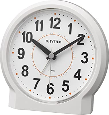リズム時計 目覚まし時計 アナログ ピュアライトR658 アラームONで ライト 点灯 連続秒針 見やすい 大きな文字 白 12.2x12.2x7.8cm RHYTHM 8RE658SR03