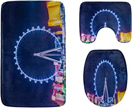 at Night Beautiful Ferris Wheel Bathroom Rug Mats Set 3-Piece,Soft Shower Bath Rugs,Contour Mat and Toilet Seat Lid Cover ...