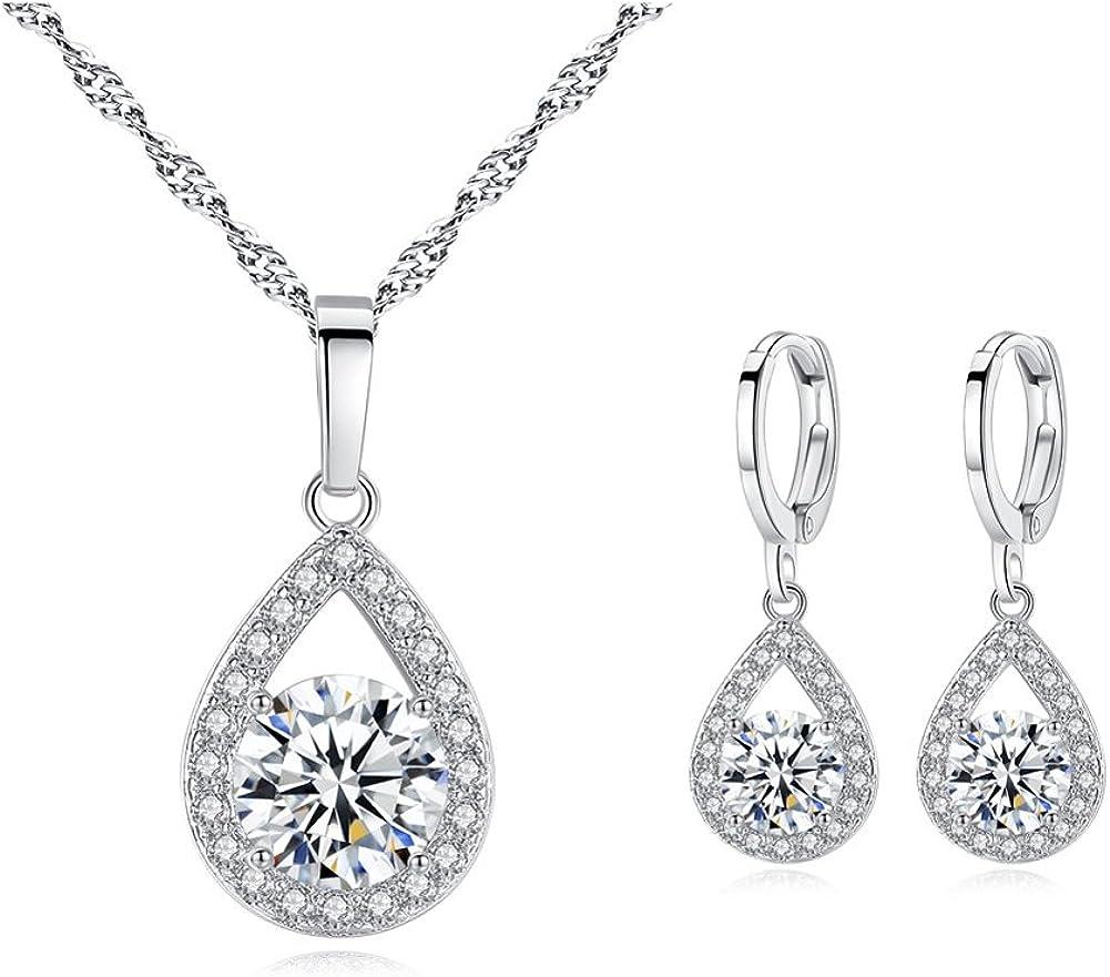 Ruzzykea Zirconia Dangle Earrings Necklace Jewelry Set For Bridesmaid Bride Wedding Prom Gift