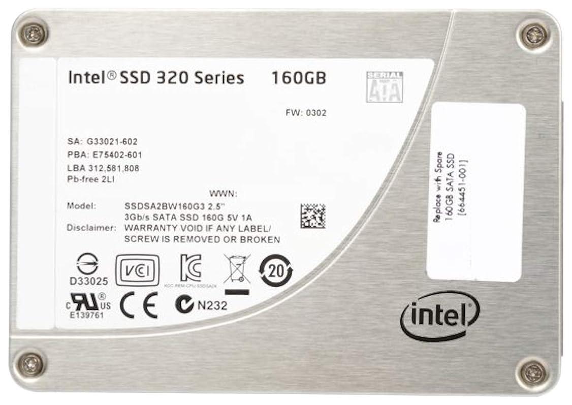 薄汚い保存予測子Intel INTEL.HARD Drive Solid State 160GBシリアルATA-300 (3 GBIT/S) 2.5インチ 内部SSDSA2BW160G3H