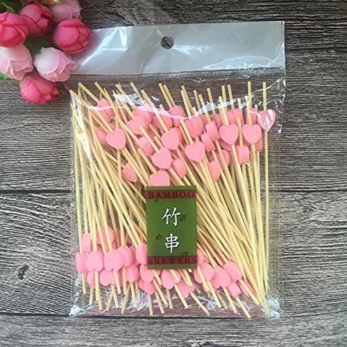 tggh Tenedor de fruta 100 piezas de 12 cm con forma de corazón y flor de bambú, para magdalenas, para fiestas, postres, ensaladas, brochetas de cóctel para decoración de bodas (color de corazón rosa)