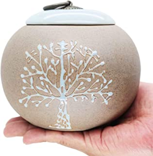 Funeral Urn by Meilinxu -Cremation Urns for Human Ashes Adult and Pet- Hand Made in Ceramics and Hand Engraved - Display B...