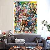 N / A Pintura sin Marco Pintura al óleo Abstracta Arte de Pared de Famosos Amantes del Pop Callejero y Perros sobre Lienzo para Sala de estarZGQ5238 50X75cm
