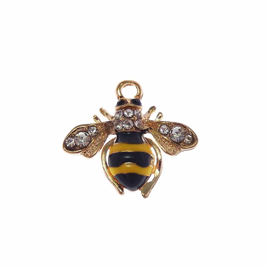 JulieWang 12pcs Enamel Bees Charms for Women Jewelry Necklace Making Pendants (Gold)