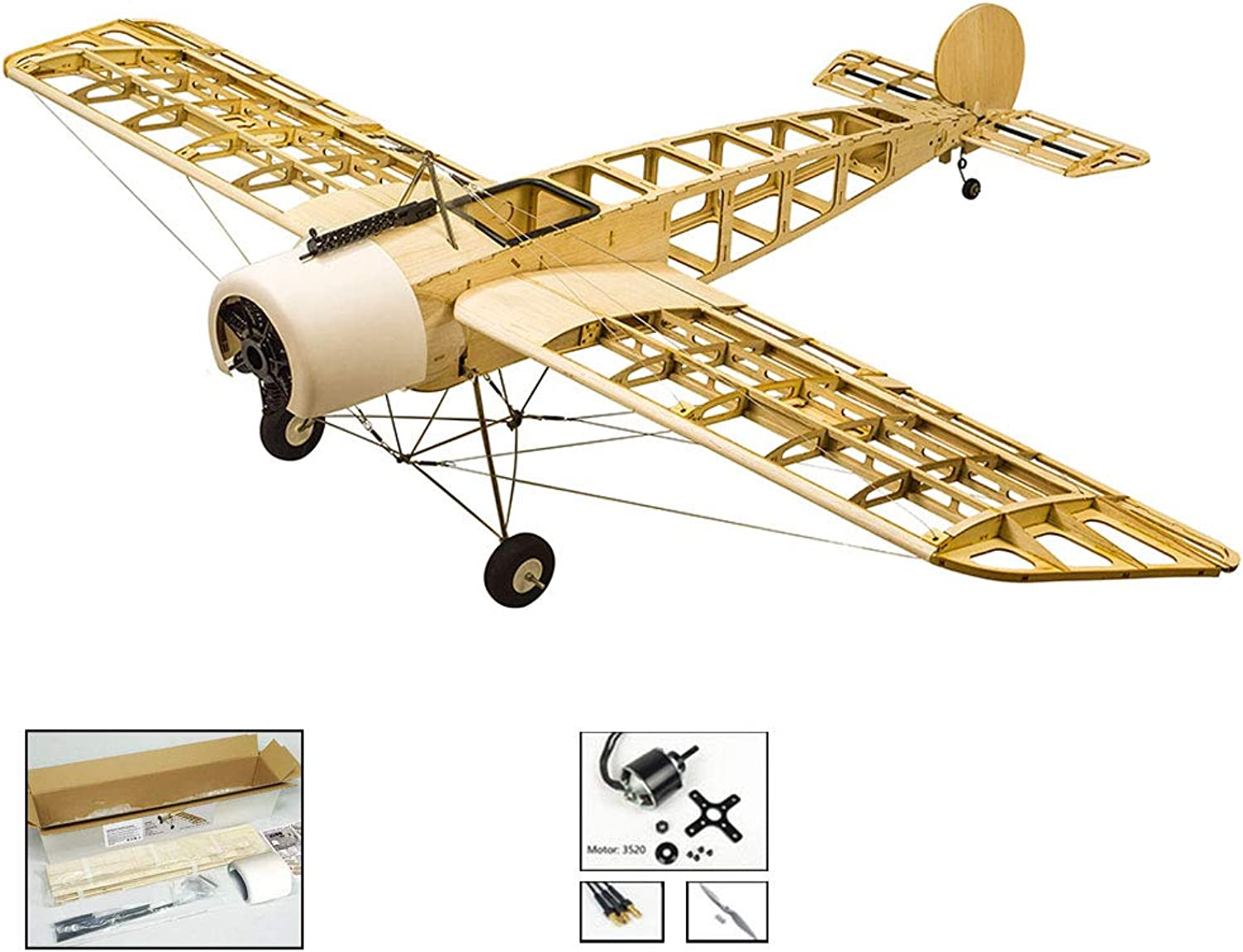 DW Hobby Balsawood Airplane 59  Fokker Eindecker EIII Aircraft Kit to Built ;4CH Radio Controlled Eelectric Laser Cut 1.5M Fokker E Aeroplane KIT Unassembled for Adults (S2402)