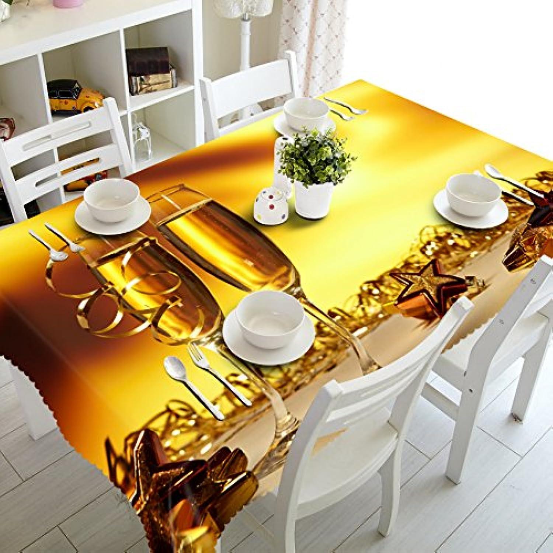 BlauLSS Anpassbare 3D-Tischdecke Champagner und Wein staubdicht Waschbares Tuch Verdicken rechteckige und runde Tischdecke für Hochzeit, A, 150 X 230 cm
