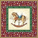 40x Servietten Schaukelpferd Nostalgisch Rocking Horse Bordeaux Weihnachten Advent Tischdeko Serviettendeko Weihnachtsdeko Lunchservietten