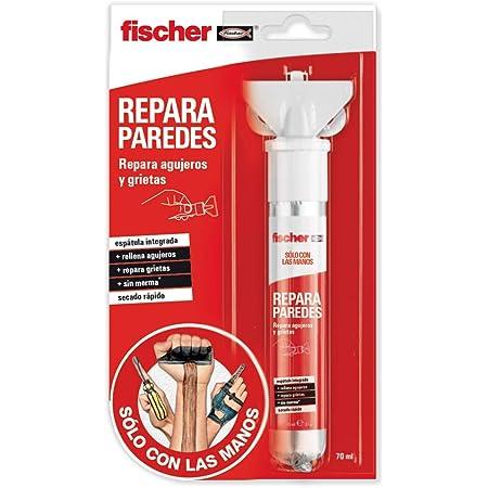 fischer 1 Masilla Sclm Repara blíster de 70 ml para tapar Agujeros de la Pared y abolladuras, en Distintos Materiales, de Color Blanco con espátula incluida para fácil aplicación