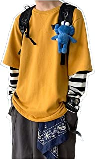 Howely Men's Stripe Basic Style Active Fake Two Pieces Pullover Sweatshirt