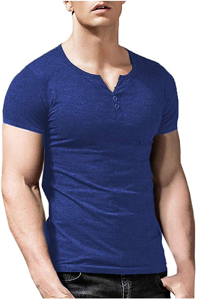 Men's Classic Henley Indefinitely T-Shirt Long Button El Paso Mall Sleeve Short Down Soft