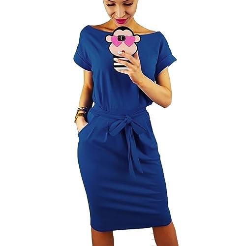 4edcad97aad PRETTYGARDEN Women s 2019 Casual Short Sleeve Party Bodycon Sheath Belted  Dress with Pockets